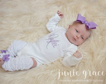 Baby Girl Coming Home Outfit Baby Girl Clothes Newborn Baby Girl Outfit Baby Girl Gift Monogrammed Baby Girl Outfit