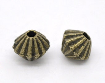 Antique bronze pewter 4mm bicone shaped spacer beads -- 100 pieces  (482)