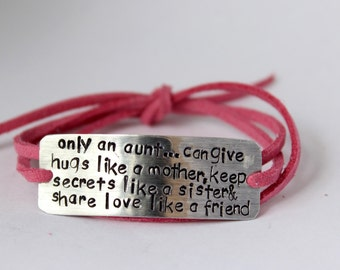 handstamped aunt bracelet, gift for aunt, aunt quote, auntie, aunt gift, aunt jewelry,only an aunt can, wrap bracelet, best aunt, aunt