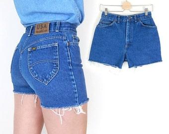 Vintage 80s Chic Brand High Waisted Cutoff Jean Shorts - Size 8 - Women's Tight Slim Fit Denim Shorts - 27.5 Inch Waist