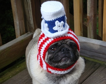 American Patriotic - Uncle Sam Dog Hat / Made to Order- Seen in the Huffington Post