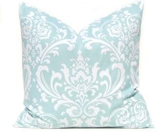 Throw Pillow Cover - Aqua Pillow Cover - Decorative Throw Pillow Cover - - 20 x 20 Inches - Damask Pillow - Sofa Pillows - Blue Pillow Shams