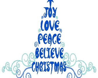 Joy love Peace Believe Christmas Tree Embroidery Design, instant download, holiday, word art, star, swirls, believe, joy, love, peace, words