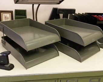 Vintage Paper Trays by CW Systems, Original Grey Finish, Double Paper Trays, Each comes as a 2-tray set, 2 available, Nice Original Finish