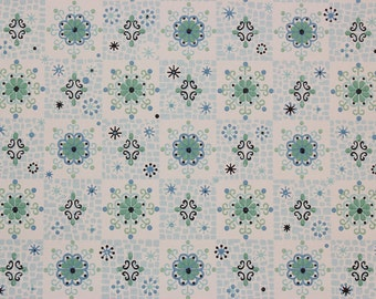 1960s Vintage Wallpaper Blue and Green Geometric on White by the Yard