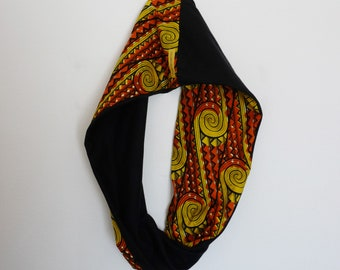Knitted orange and black cotton wax African/Snood orange and black/scarf for spring/Infinity scarf in African fabric