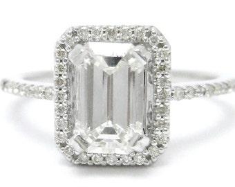 Emerald Cut Antique Style Diamond Engagement Ring E12