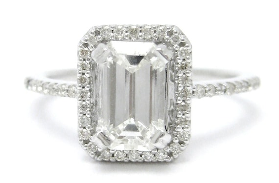 Emerald Cut Antique Style Diamond Engagement Ring E12