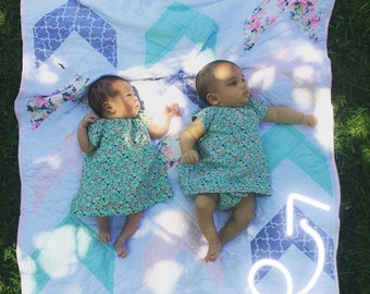 CUSTOM Modern Arrow Quilt Pictured in Spring Colors and Flowers, Sizes Crib-Twin, Any Fabric Availible