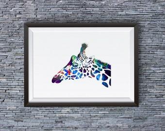 Giraffe Print - Art Poster  - Animal Illustration - Wall Art - Home Decor