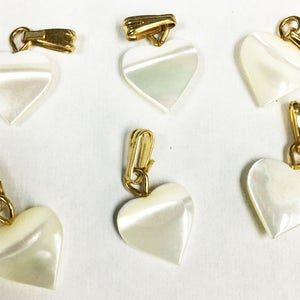 6 GENUINE mother-of-pearl HEART PENDANT 10 mm