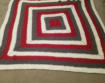 Cranberry, cream, and slate throw approximately queen size