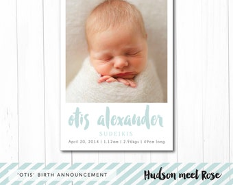 Printable - The 'Otis' Photo Birth Announcement | Baby Thank You Card