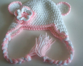 Hand Crochet Newborn Earflap Hat In white and Pink
