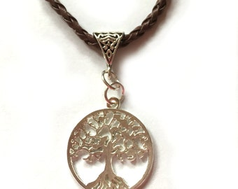Tree of Life Silver Charm on Brown Braided Necklace Cord, Free Shipping, Tibetan Silver Tree Necklace Buy One = Give Clean Water