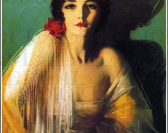 Exotic Shawl Drapped Dark  Beauty.  Art Deco Vintage Illustration. Flapper Digital Download. Rolf Armstrong. Digital Print