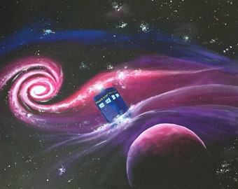 Tardis in Space - Doctor Who Inspired Original Acrylic Painting
