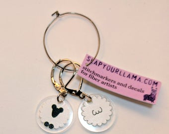 Right Side/Wrong Side Sheep Stitchmarkers, Progress Keepers for Knitters or Crocheters