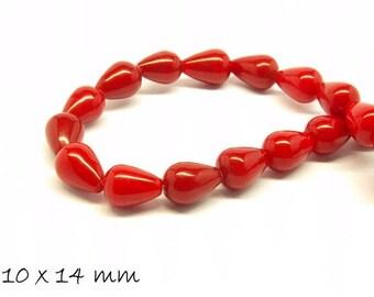 6 pcs natural jade beads drops red 10x14 mm