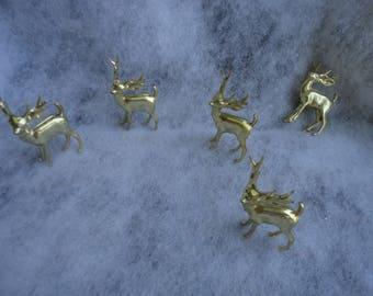 Vintage Lot of Gold Hard Plastic Deer Figurines, Christmas Deer Figurines, Christmas Decor, Deer, Deer Figurines, Gold Plastic Deer, Holiday