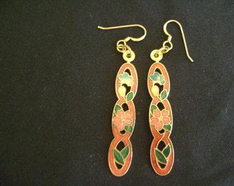 Cloisonne 14KGF Cut-out Pierced Earrings