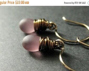 MOTHERS DAY SALE Bronze Earrings - Purple Dangle Earrings with Frosted Glass Teardrops, Wire Wrapped Earrings. Handmade Jewelry.