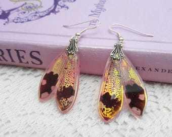 Wing Earrings - Handmade Gifts - Iridescent Fairy Wings - Real Insect Jewelry - Wing Earrings - Flushed Flare