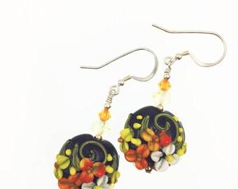 Lampwork Glass Bead Flower Earrings – Black, White, Orange and Yellow Earrings