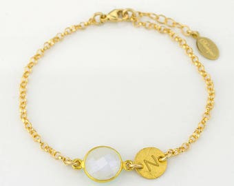 Personalized bridesmaid bracelet, bridal jewelry, Birthstone initial bracelet, Moonstone bracelet, June Birthstone jewelry, mothers bracelet