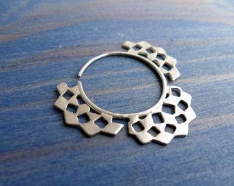 Mashrabiya Gipsy Earring No 4. Modern Geometry. Handmade Silver Lace Hoop Earring. Architecture Inspired Design. Neoclassical Sterling Gipsy