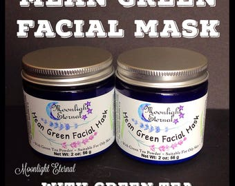 Clay Mask - Face Mask - Green Clay - Facial Mask - Mean Green Facial Mask - All Natural - Fragrance Free - Great For Oily Skin!