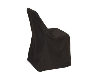 YCC Linen - Polyester Folding Chair Cover Black | Wedding Chair Covers