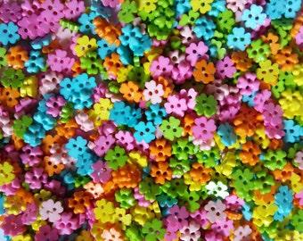 100 pcs Tiny clover flower buttons size 6 mm Mix pastel colors