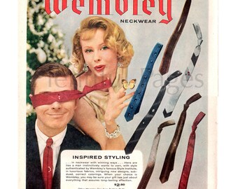 1958 Wembley Neckwear Vintage Ad, 1950's Men's Fashion, Retro Ties, Advertising Art, 1950's Couple, Vintage Neck Ties, Great for Framing.