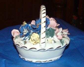 Fine China Flower Basket with Blue Pink and Yellow and gold trim