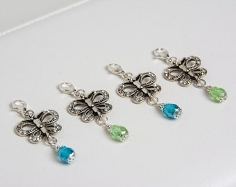 Silver Butterfly Planner Charm Traveler's Notebook Charm with Clear Rhinestones and Teardrop Crystal in Blue or Green