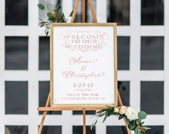 Rose Gold Wedding Welcome Sign. Printable Welcome Sign. Printable Welcome Sign Wedding.  Welcome Sign Printable. Welcome To Our Wedding Sign