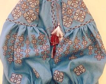 Sky blue vyshyvanka blouse of 100% linen with Ukrainain geometric embroidery patterns and tassels -boho chic ethnic folkloric-modern folk