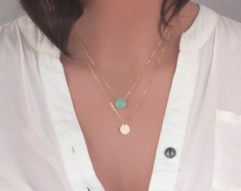 Gold Double Layered Necklace, Gold Layered Necklace, Birthstone Layered Necklace, Two Layered Necklace, Gemstone Layered Necklace, Two layer