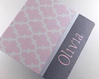 Photo Album Girl Baby Book Keepsake Baby Memory Book Pink Gray Scrapbook 4x6 8x10 5x7 Pictures Baby Shower Gift