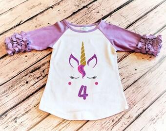 Unicorn Birthday Shirt, 4th Birthday Girl, Fourth Birthday Girl 4th Birthday, Toddler Girl Birthday, Birthday Outfit Girl, Unicorn Shirt