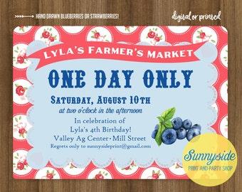 Blueberry Birthday Invitation | Farmer's Market Party Invite | printable or printed berry invitations, vintage style