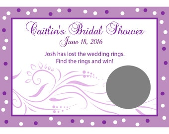 24 Personalized Bridal Shower Scratch Off Game Cards - Modern Bride - Purple Bridal Shower - Lilac Bridal Shower - Wedding Scratch off Game