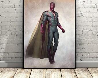 Marvel Avengers,Vision,Superhero Print, Watercolor,Home Decor,Kids Wall Decor, Boys Gifts,Avengers Superhero,Captain America, Digital poster