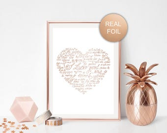 Heart print Love art Typography art Real foil print Rose gold wall art Wedding gift Love in more languages Gold foil Shiny wall decor