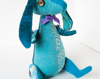 Rabbit / Bunny Recycled Plush Fabric Turquoise Patchwork Articulated Doll