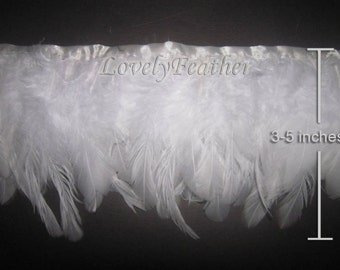 Coque feather fringe of white color 1 feet trim