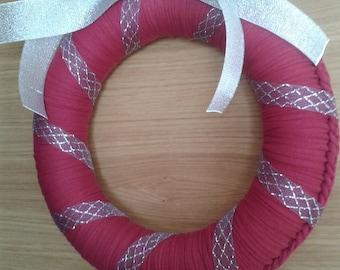 Celebration crown for door. Handmade fabric (crochet)