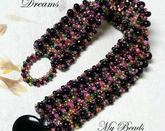 Beadwoven Bracelet,Beaded Bracelet, Embellished Bracelet, Cuff Bracelet, Beading Tutorial, PDF Beading Instructions ,Seed Bead Bracelet