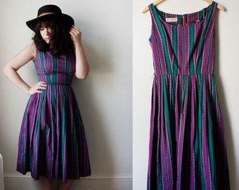 Vintage 60s Purple and Dress Day Dress Midi Dress XSmall / Small